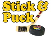 Logo Stick and Puck offered at Rocket Ice Skating Rink