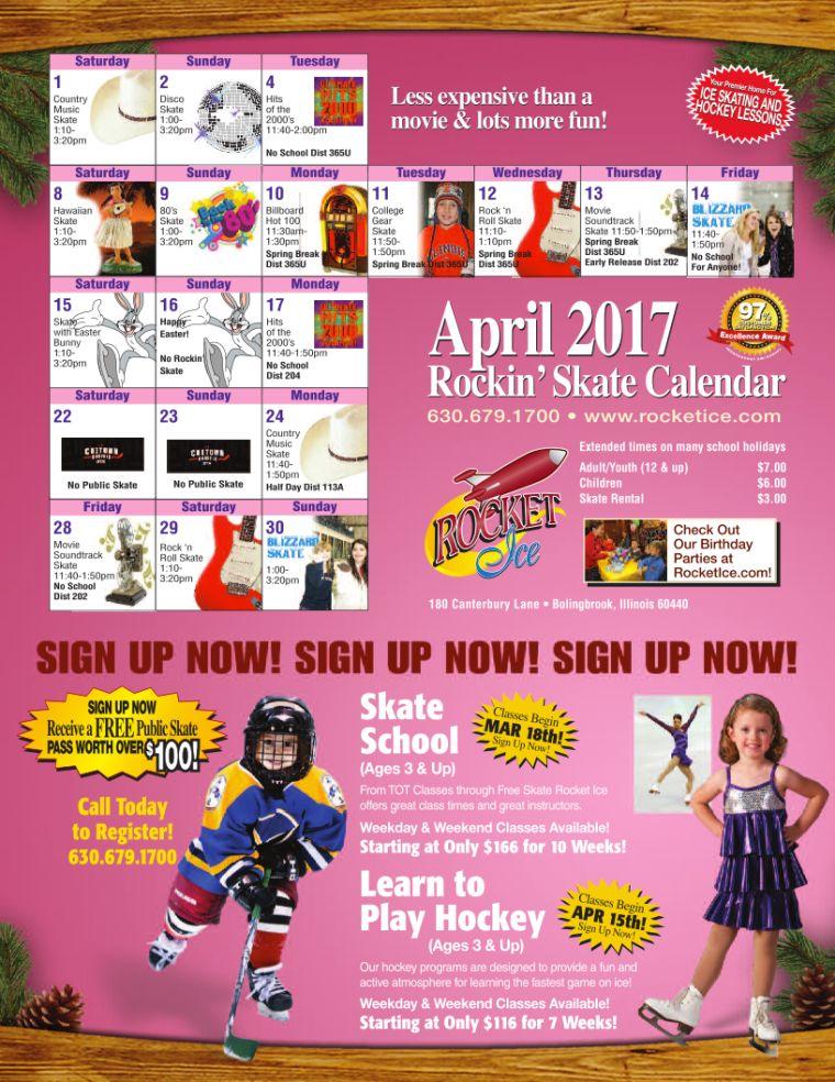 April 2017 Public Skate Calendar