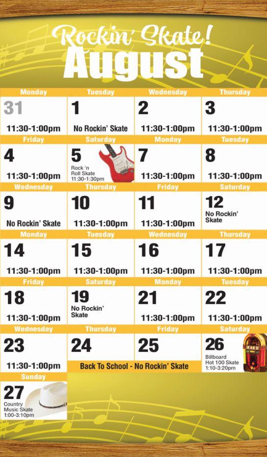 August 2017 Public Skate Mobile Calendar