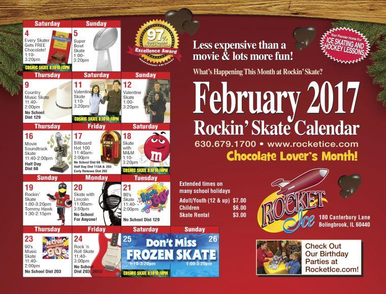 February 2017 Public Skate Calendar