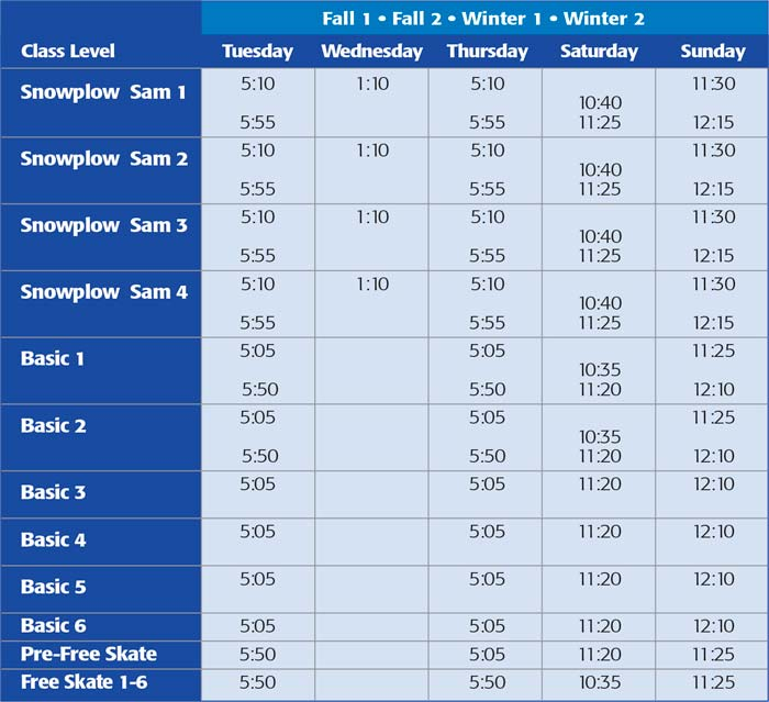 Table of available times for ice skating lessons.