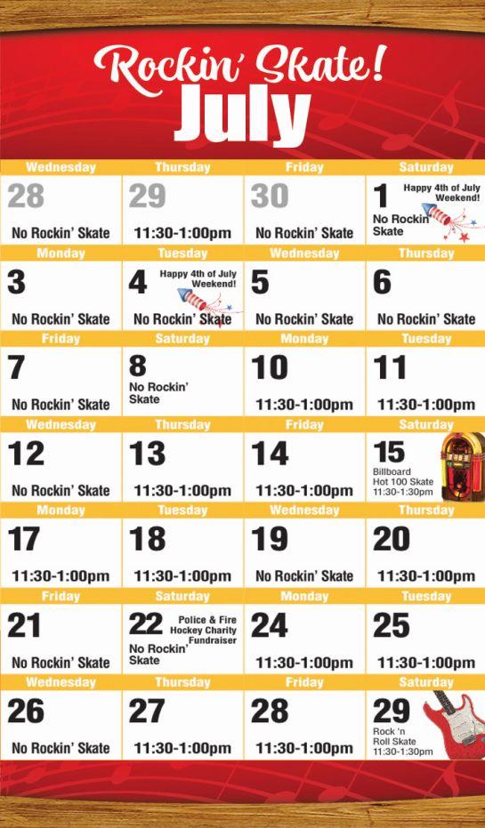 July 2017 Public Skate Mobile Calendar