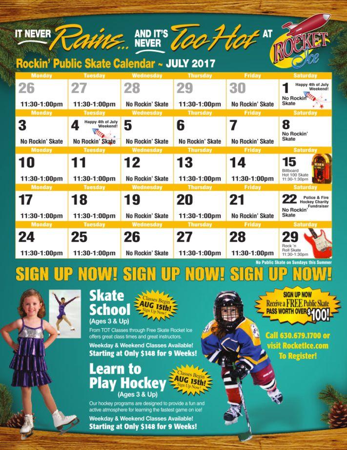 July 2017 Public Skate Calendar