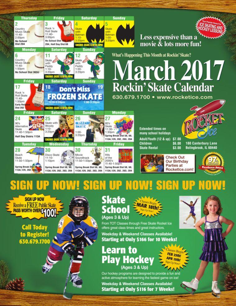 March 2017 Public Skate Calendar