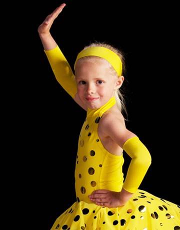 Figure Skating girl in a yellow polk-a-dot skating dress