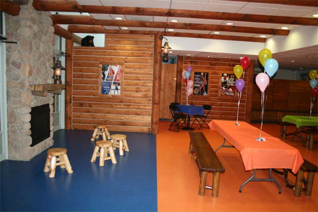 Party room that is used for an Ice Skating Birthday Party.