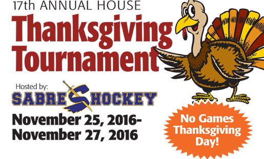 Flyer for the annual Thanksgiving Tournament at Rocket Ice Hockey Rink.