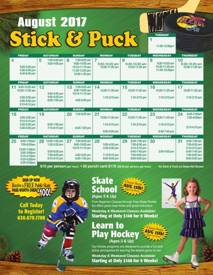 August 2017 Stick & Puck Schedule