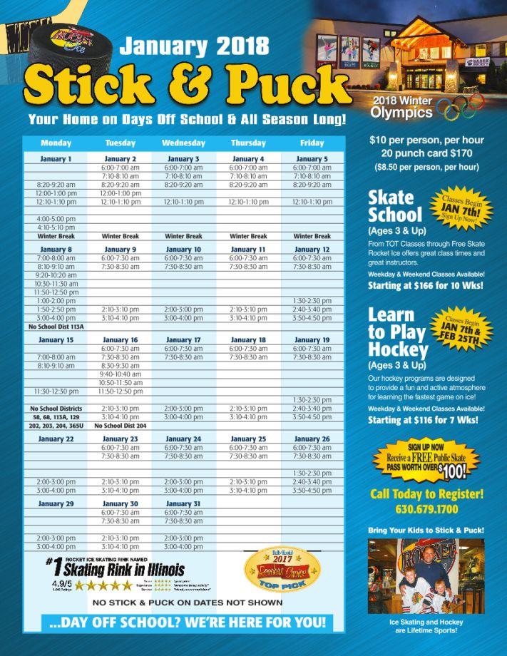 January 2018 Stick & Puck Calendar