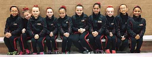 Younger synchronized ice skating team at competition.