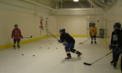Students training on synthetic ice.