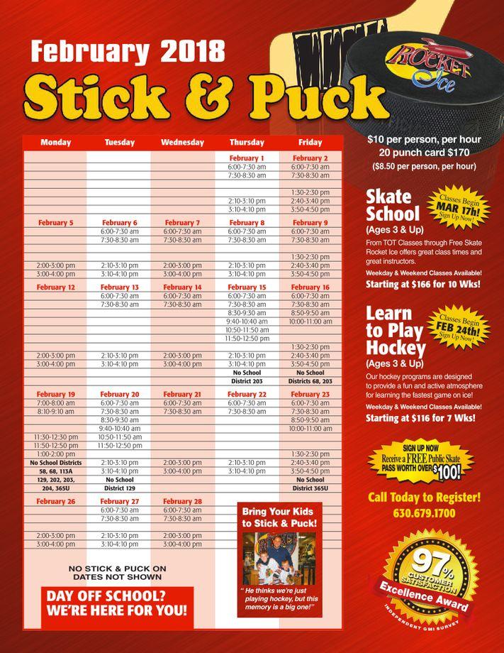 February 2018 Stick & Puck Schedule